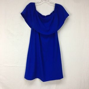 Charles Henry Blue Off the Shoulder Ruffle Dress